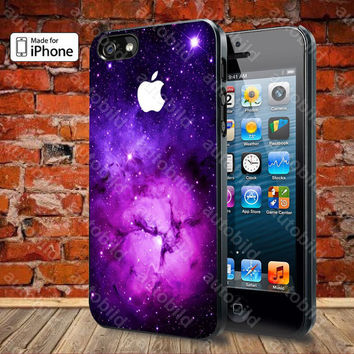 Purple Galaxy Nebula with apple logo Case For iPhone 5, 5S, 5C, 4, 4S and Samsung Galaxy S3, S4