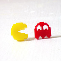 Pacman Ghost Stud Earrings : 80's Geek Jewelry Gamer Red Laser