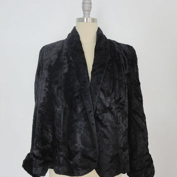 1940s 1950s Faux Fur Jacket / Black / Formal Evening Coat / Mid-Century Mad Men / Vegan