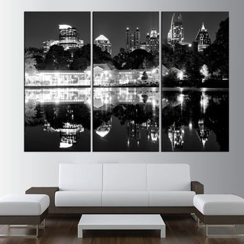 Black and white Atlanta Skyline wall art, LARGE Canvas Print, Atlanta wall Art, Extra Large wall atlanta Wall Art Print, city wall art  t352