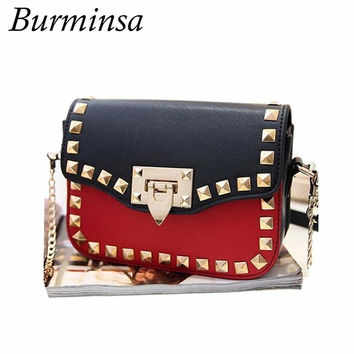 Burminsa Brand Small Rivet Flap Shoulder Crossbody Bags Designer Handbags High Quality PU Leather Mini Chain Women Messenger Bag
