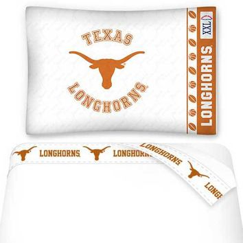 NCAA Texas Longhorns Bed Sheets Set College Football Bedding