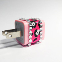 Pink Cheetah & Rhinestone iPhone USB Charger by VanityCases