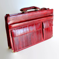 80s eel skin briefcase. Vintage shoulder bag. Burgundy oxblood leather portfolio case. Note case. Crossbody bag. Satchel bag. Laptop case