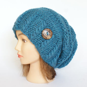 Slouchy beanie hat wool petrol blue slouch hats beanies irish handknit hat knitted hats for women adult teenager with button cool accessory