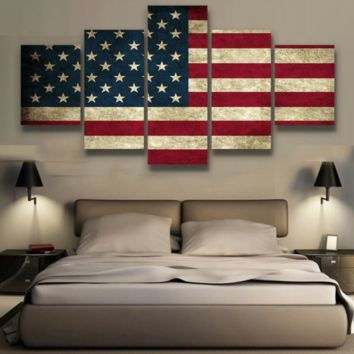 rustic american flag 5 piece canvas set
