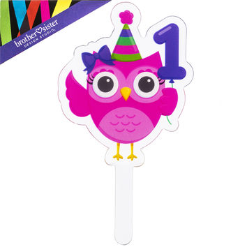 Shop Owl Birthday Cupcake Toppers on Wanelo