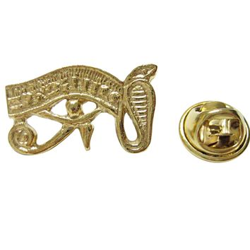 Gold Toned Textured Egyption Eye Lapel Pin