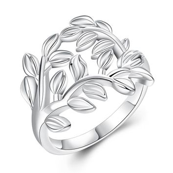 Jemmin 925 Sterling Silver Tree And Leaves Design Woman Wedding Engagement Party Rings Fashion Jewelry Vintage Europe Style