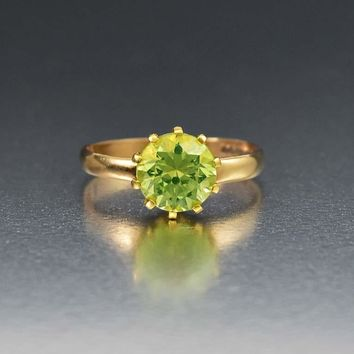 Vintage Gold Green Spinel Solitaire Engagement Ring