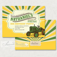 Tractor Invitation / Farm Fresh Invitation - Printable Birthday Invite