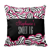 Pink zebra heart Sweet 16 Birthday Pillow