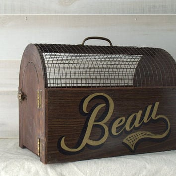 Vintage Wooden Pet Carrier Dog Crate