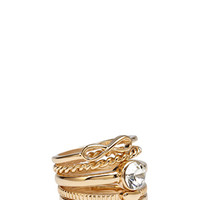 FOREVER 21 Infinity Ring Set Gold/Clear