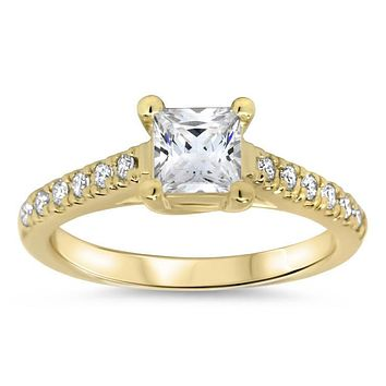 Princess Cut Moissanite Engagement Ring Moissanite and Diamonds- Christina