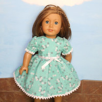 American Girl Doll Clothes, Green Floral Doll Dress, Knee Length Short Sleeved Doll Dress, Summer Doll Clothes, fits 18 Inch Dolls