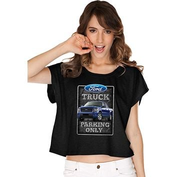 Ladies Ford Truck T-shirt Parking Sign Boxy Tee