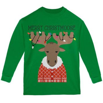 DCCKJY1 Christmas Merry ChristMoose Moose Youth Long Sleeve T Shirt