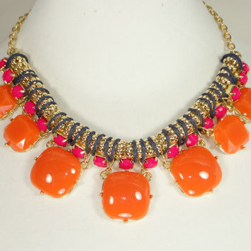 J Crew Inspired Statement Necklace, Bib Necklace, Bubble Bib, Bridesmaid Gift, Mother's Day Gift, Pink, Navy and Orange