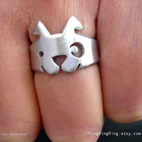 Hand brushed solid sterling silver ring by RingRingRing on Etsy