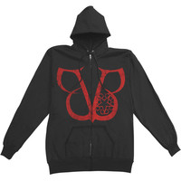 Black Veil Brides Men's  Double Skull Zippered Hooded Sweatshirt Black