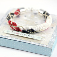 Argyle Bracelet  Classic Bead Crochet Bracelet  Minimalist Bracelet  White Sillver Red Grey Beadwork Jewelry Modern Multi-Colored