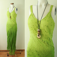 90s - Ethnic - Indian - Hippie - Chartreuse - Lime Green - Embroidered - Sequins - Brocade - Hour Glass - Bias Cut - Mermaid - Maxi Dress