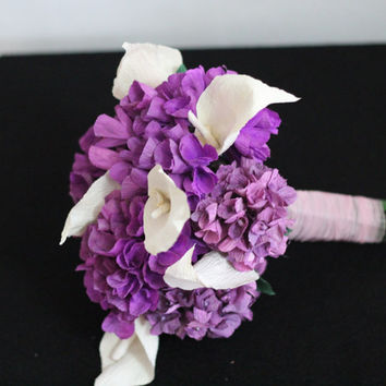 Bouquet Purple Paper Hydrangea and Calla Lilies bridal wedding flowers