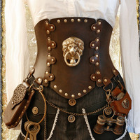 brown Steampunk Corset Brass Lion - All Sizes 'Air Kraken Assasin'  Corset belt - all sizes