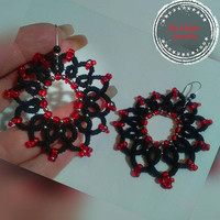 Lace Earring/Tatted Lace Earrings/ Lace Earrings/Beaded Lace/ Beaded Lace Earrings/Lace Jewelry
