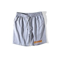 Thrasher 2018 men and women tide fashion trend classic flame logo casual shorts F0570-1 Gray