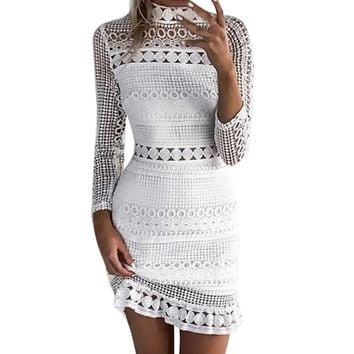 Womens Sexy Lace Bodycon Cocktail Party Pencil Midi Dress Bandage Dresses