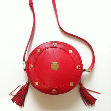 Vintage MCM Red Leather Round Canteen Cross Body Bag