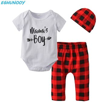 Summer Baby Boy Clothes Mama's Boy Bodysuit+Red Plaid Pants+Hat Newborn Baby Boys Clothing Toddler Outfits Infant 3/Pcs Set