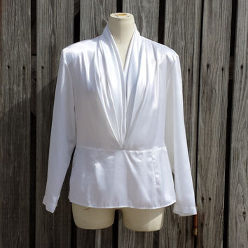 VINTAGE Women's Joan Collins White Satin Blouse - STUNNING!  USA Made - Size M