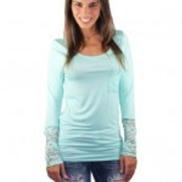 Solid Mint Lace Sleeve Top