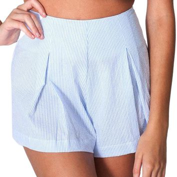 Preppy Style High Waist Vertical Stripes Women Casual  Shorts
