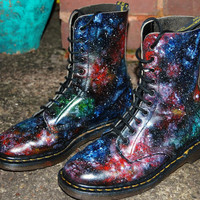 Galaxy Cosmic Print Dr Martens. Hand Painted . Sizes 3 to 10.