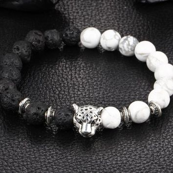 ONETOW Natural weathering agate black line loose volcanic stone green stone hand string Buddha beads lion leopard head bracelet