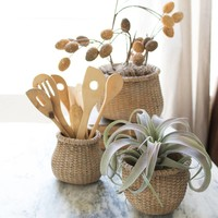 Cement Rolled Top Rattan Baskets Planters (Set of 3)