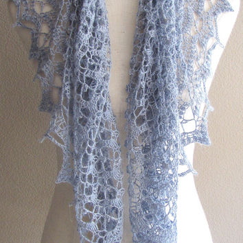 Blue Platinum Lace Crochet Shawl With Miyuki Crystal Delica Beads Baby Alpaca Silk Yarn Handmade Versatile Lightweight Scarf Wrap