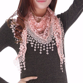 New Brand Design Spring Lady Lace Scarf Tassel Hijab Sheer Women  Floral Scarves Shawl Foulards Femme Embroidered Cape Scarf Bib