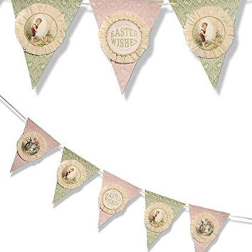 Vintage Style Easter Wishes Pennant Garland