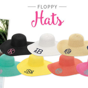 Monogrammed Beach Hats, Personalized Beach Straw Hats, Personalized Beach Hats, Monogrammed Floppy Beach Hats, Beach Hats