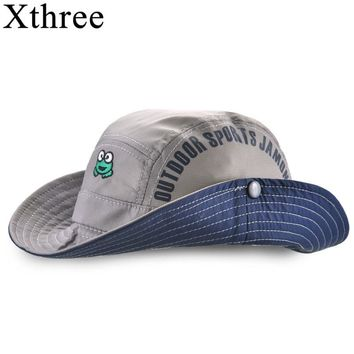 Xthree  New Summer bucket hat cap kids cowboy  baby boy hat casquette garcon sun hat for girl