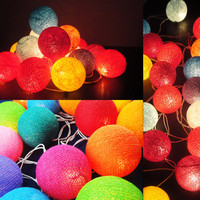 Battery Powered LED Bulbs 20 Mixed Handmade Cotton Balls Fairy String Lights Party Patio Wedding Floor Table Wall Hanging Gift Home Decor 4m