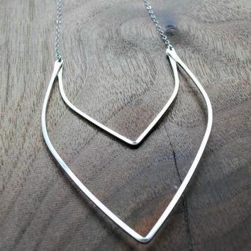 Double Wishbone Necklace - Silver and Gold