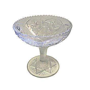1920s Pedestal Serving Glass Dish, Table Centerpiece for Flowers, Vintage Elegant Dining