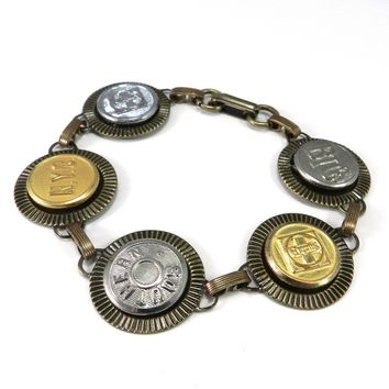 Railroad & Travel - Vintage Uniform Button Bracelet - Brass