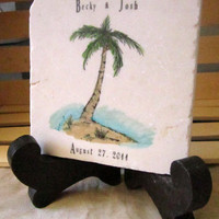 Personalized Palm Tree Trivet - Tropical Kitchen - Wedding Gift - Beach Home Decor